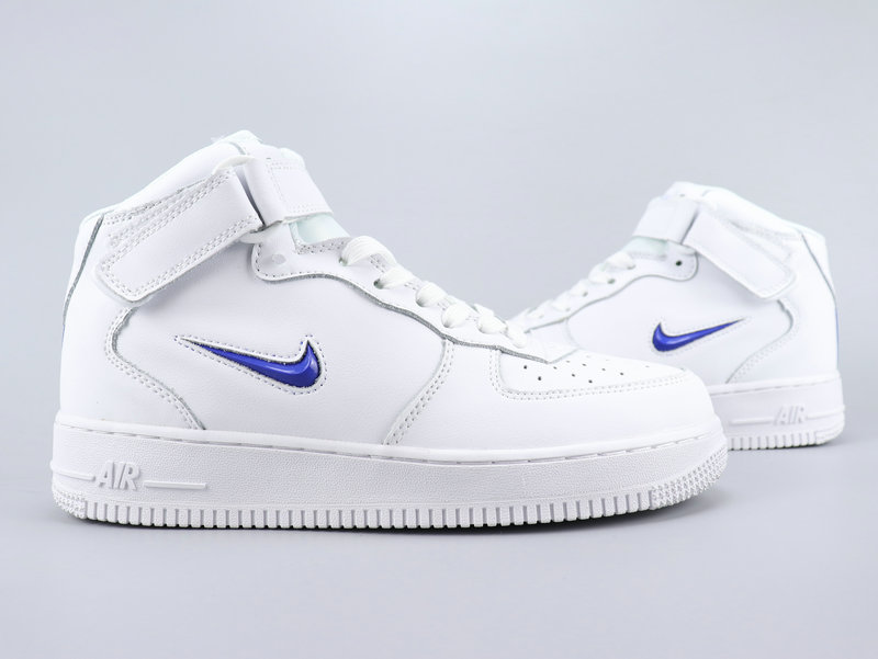 2020 Nike Air Force 1 Mid Retro PRM QS White Blue For Women
